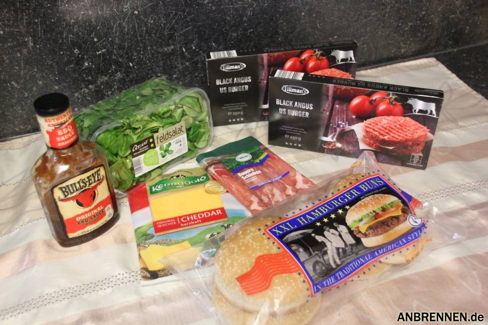 Die Zutaten die ich für den Cheeseburger verwendet habe